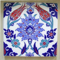 Items similar to IZNIK CERAMIC TILE with Traditional Kutahya, Iznik designs for tabletops double tulips hatayi spring blossoms design art, silk printed on Etsy Turkish Tiles, Turkish Art, Islamic Patterns, Tile Patterns, Pattern Art, Azulejos Art Nouveau, Art Nouveau Tiles, Islamic Tiles, Islamic Art
