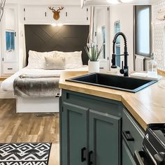 Rv Living, Tiny Living, Home And Living, Simple Living, Caravan Renovation, Travel Trailer Remodel, Camper Makeover, Types Of Flooring, Remodeled Campers