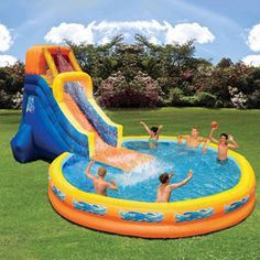 Inflatable Pool With Water Slide Swimming Kids Outdoor Huge Cool Big Commercial (Cool Pools With Slides) Water Slides Backyard, Cool Water Slides, Blow Up Water Slide, Backyard Water Parks, Pool Slides, Kids Water Slide, Inflatable Water Park, Giant Inflatable, Bouncy House