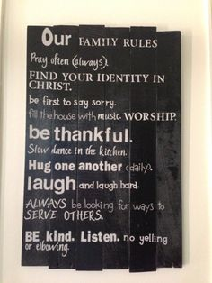 Our Family Rules-Wall hanging that depicts family values. on Etsy, $60.00