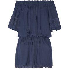 Melissa OdabashTerri Off-the-shoulder Crochet-trimmed Voile Mini Dress ($255) ❤ liked on Polyvore featuring dresses, navy, loose dresses, blue mini dress, navy blue mini dress, off the shoulder short dress and blue dress