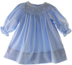 Hiccups Childrens Boutique - Girls Blue Smocked Long Sleeve Bishop Dress with White Smocking, $50.00 (http://www.hiccupschildrensboutique.com/girls-blue-smocked-long-sleeve-bishop-dress-with-white-smocking/)