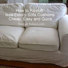 How to Restuff Ikea Ektorp Sofa Cushions Cheap, Easy & Quick ~ Restyle Relove Cushions Ikea, Sofa Seat Cushions, Ikea Couch, Sofa Seats, Ikea Sectional, Ikea Chair, Couch Sofa, Desk Chair, Ideas