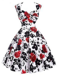 6a16327f60d24 Sukienka pin-up, swingdress, retro czerwone róże, wycięte plecy, 024