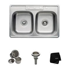 KRAUS All-in-One Top Mount Stainless Steel 33x22x9 in. 3-Hole Double Bowl Kitchen Sink-KTM33 - The Home Depot
