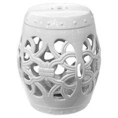 "Openwork ceramic garden stool.   Product: Garden stoolConstruction Material: Ceramic Color: WhiteDimensions: 18"" H x 14.5"" Diameter"