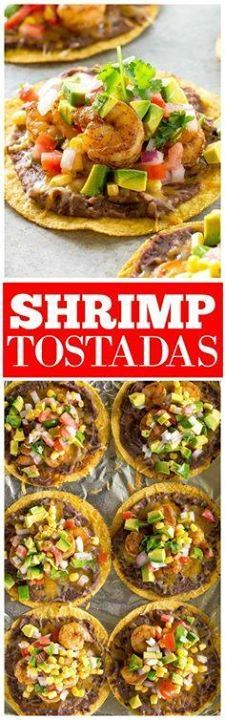 Shrimp Tostadas with Shrimp Tostadas with black beans avocado...  Shrimp Tostadas with Shrimp Tostadas with black beans avocado onions tomatoes and cilantro. the-girl-who-ate- Recipe : http://ift.tt/1hGiZgA And @ItsNutella  http://ift.tt/2v8iUYW