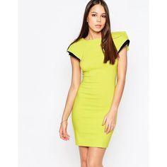 Vesper Logan Cap Sleeve Pencil Dress (€51) ❤ liked on Polyvore featuring dresses, green, tall dresses, white day dress, body con dresses, pencil dresses and white dresses