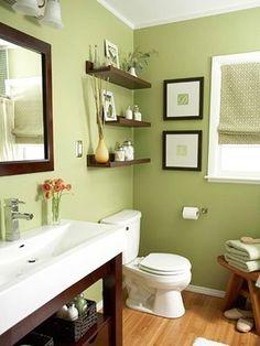 Green Bathroom, Dark Wood
