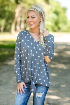09a32cb279b4cf Put A Smile On Polka Dot Knotted Top in Grey Filly Flair, Dainty Necklace,