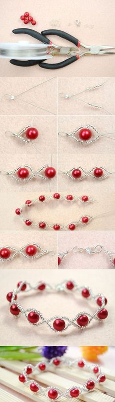 Tutorial on How to Make Your Own Red Pearl Bracelet with Clear Seed Beads from LC.Pandahall.com #pandahall | Jewelry Making Tutorials & Tips 2 | Pinterest by Jersica