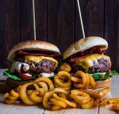 Burger stacks and curly fries