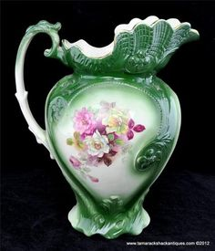"""Antique Early 20thC Green 13"""" Wash Pitcher Pink White Roses Gilded Victorian 
