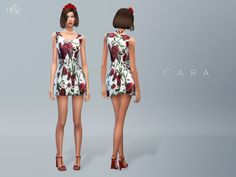 This dress is printed with an oversize rose motif, perfect for bringing feminine allure to your look. It finishes at the thigh, showing off plenty of leg. Found in TSR Category 'Sims 4 Female...