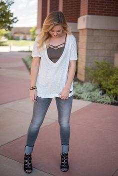 05ad9e3265a Holy moly deep v-neck t-shirt off white. This super trendy deep