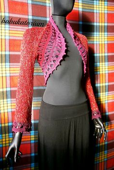 """Mulled Wine"" - Knitted Bolero With Crochet Broomstick Lace Decoration 