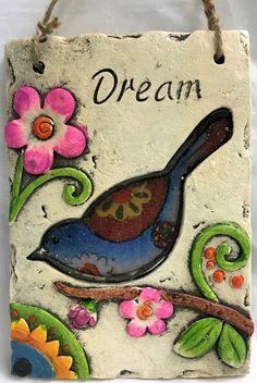 Joyful Bird Dream Plaque Sign With Flowers