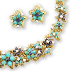 A turquoise, sapphire and diamond parure, by Boucheron,