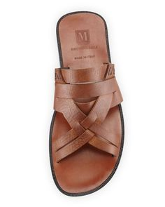 Bruno Magli | Brown Edipo Leather Sandal Slide for Men | Lyst