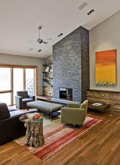 Tranquilidade #lareira #sala #living #madeira #diagonal