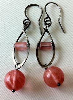 20 OFF coupon OFF20 Cherry quartz globe earrings by anikosandor, $18.00