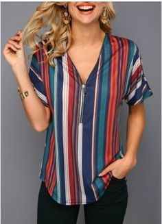Tops For Women Short Sleeve Zipper Front Multicolor Striped Blouse Trendy Tops For Women, Blouses For Women, Stylish Tops, Royal Blue Blouse, Short Sleeve Blouse, Shirt Blouses, Couture, Sleeves, Clothes