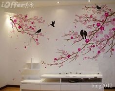 Diy Cherry Blossom Tree Painting On Wall - Painting a cherry blossom tree is a perfect starter canvas project that will add to your confidence with acrylics. Every year cherry blossoms also kno. Tree Wall Decor, Tree Wall Art, Tree Art, Bird Wall Decals, Wall Stickers, Vinyl Wall Art, Tree Wall Painting, Cherry Blossom Painting, House Furniture Design