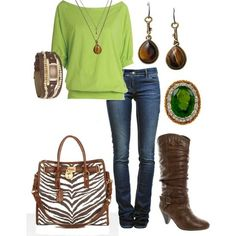 Lime green top. Brown boots. Dark jeans.