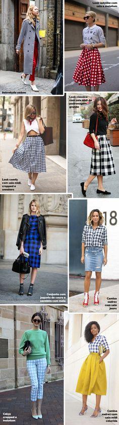 Layla Monteiro dicas de como usar xadrex vichy. Tendência 2017. Saia midi xadrez vichy, sobretudo, camisa com jeans.