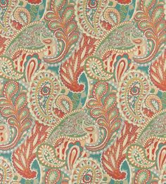 Aqua or Teal and Coral or Orange or Persimmon and Light Blue and Light Geen and White or Off-White color Contemporary and Floral and Foliage and Paisley pattern Brocade or Matelasse and Damask or Jacquard type Upholstery Fabric called K2421 by KOVI Fabrics