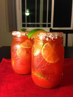 Mason Jar Lime Michelada What's in it: Modelo  Beer  Picante Clamato  Lime slices Margarita Salt Tajin Seasoning   & Enjoy!
