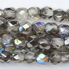 25 6mm Black Faceted Beads Jet Gray Picasso Firepolish Round Crystals T-44A