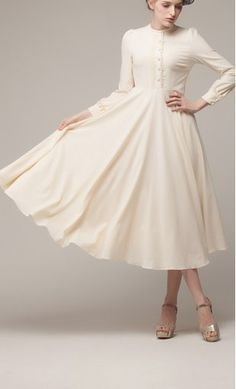 Bethany - Womens modest vintage standing collar formal gown dress with button up top and flowy skirt #modesty #vintagedress