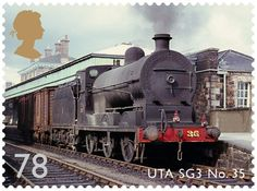 Stamp from the Classic Locomotives of Northern Ireland issue, released 18th June 2013 by Royal Mail. 78p – UTA SG3 Class No. 35. The SG3 Class locomotive shunts wagons at Portadown in 1963.