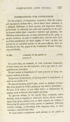 Instructions for Constables from The Constable's Pocket Companion and Guide, 1830