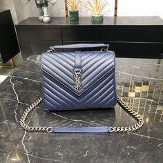 Ysl Saint Laurent college medium chain shoulder bag navy blue Saint Laurent Bag, Chain Shoulder Bag, Louis Vuitton Twist, Ysl, Saints, Navy Blue, College, Medium, Bags