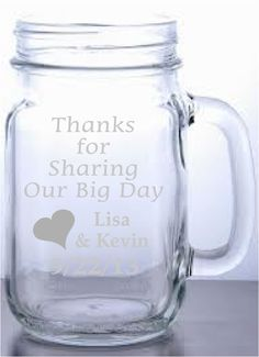 Find This Pin And More On Wedding Ideas Got Hitched Etched Gl Mason Jar With Handle The Perfect Customized Favor