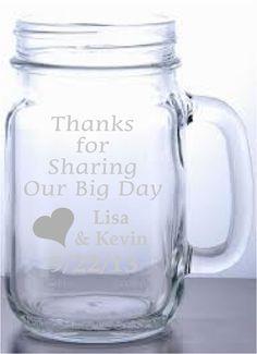 Etched Mason Jar with Handle Wedding Favor by TheYardBarnShop, $10.00
