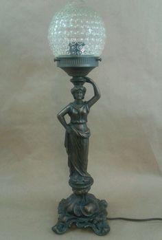 P.S.T. Industries Paul Sehlin Tiffanies Long Beach, California U.S.A.  Grecian Lady Statue Table Lamp Cast