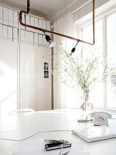 Koperen plafondlamp voor in de werkkamer - Inspiratie! De comeback van koper