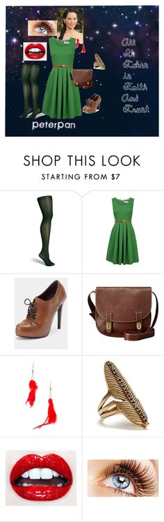 """Peter Pan Inspired"" by lizzieannestedman ❤ liked on Polyvore featuring Fogal, Louche, FOSSIL, Nelly Accessories, Lucky Brand and inspired peterpan"