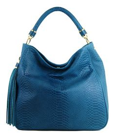 This Teal Snakeskin Hobo by Ivanka Trump is perfect! #zulilyfinds