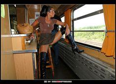https://flic.kr/p/q2i2Ro   Daring bootbitch with public train ride   Daring bootbitch with public train ride
