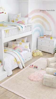 Kid's Bunk Beds Build their dream bunk bed shared space for kids! Related posts:Before and After: Bold Color Gives a Shared Girls' Room New LifeIch organisiere meinen Bastelraum - Ein Mädchen und eine Klebepistole. Twin Girl Bedrooms, Bedroom For Girls Kids, Bunk Beds For Girls Room, Rooms For Teenage Girl, Small Childrens Bedroom Ideas, Wallpaper For Girls Bedroom, Rainbow Girls Bedroom, Tween Girl Bedroom Ideas, 6 Year Old Girl Bedroom