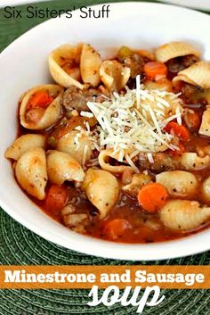 Minestrone and Sausage Soup on SixSistersStuff.com - so hearty and delicious!