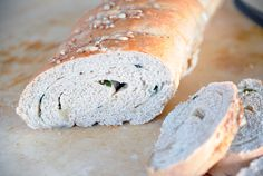 French Bread with Gruyere Cheese and Fresh Basil