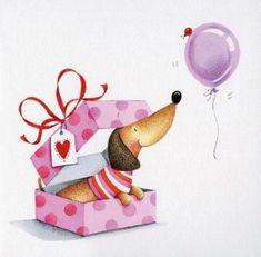 Dachshund Surprise Greeting Card - Happy New Year 2019 Dachshund Art, Dachshund Gifts, Daschund, Happy Birthday Wishes, Birthday Greetings, Happy Birthday Dachshund, Dog Blanket, Weenie Dogs, Illustration