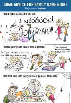 Some Advice for Family Game Night (Parenting Comic by Betje.com for Babble)