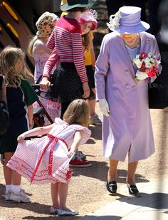 A little girl gives the queen a Royal Welcome during the royal visit in 2011.