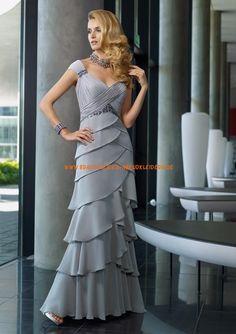 Billige Abendkleider Bodenlang aus Chiffon im Kolumnestil online 2013